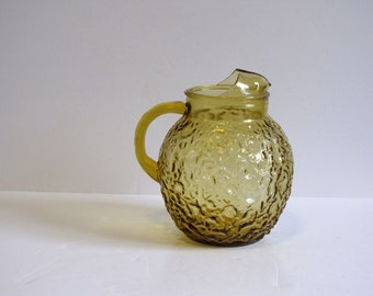 Vintage Yellow/Gold/Mustard Anchor Hocking Glass Lemonaid / Water / Ice Tea Pitcher