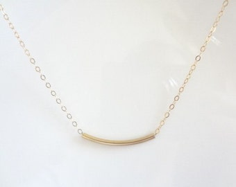 Curved Tube Bar, Curved,14K Gold Filled, Sterling Silver Chain Necklace, Jewellery Bridal, Bridesmaids, Weddings, Fashion, Handmade Jewelry