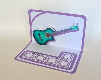 Green ACOUSTIC GUITAR 3D Pop Up Card ORIGINAL Design American Idol Music Lovers Handmade in White and Metallic Shimmery Purple OOaK