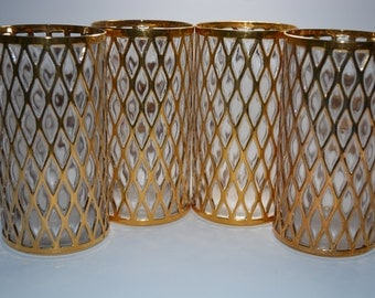 barware. Imperial Glass Sekai Ichi. Imperial Glass Gold 24Kt gold drinking glasses. Tall Tumblers Imperial Glass Co.