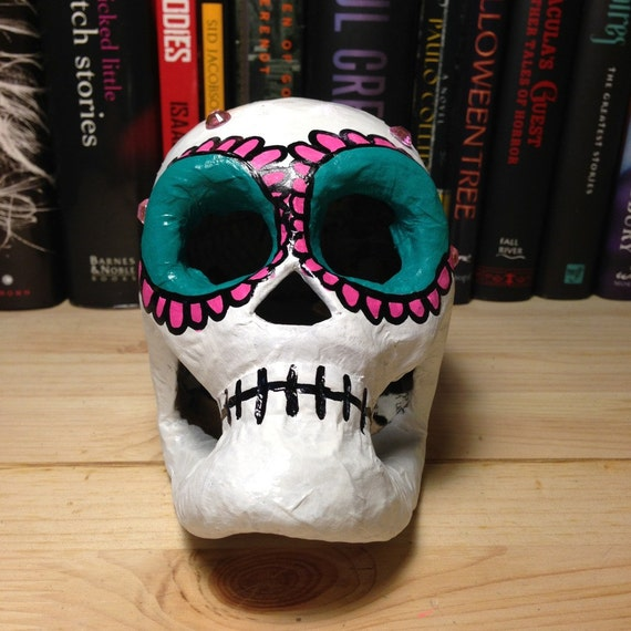 Pink & Teal Day of the Dead Paper Mache Skull