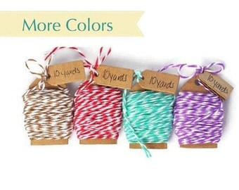 READY TO SHIP   100% Cotton Twine 40 yards Bakers Twine The Twinery 4 colors striped Twine Bundle