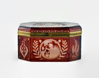 Antique Red Bohemian Beveled Glass Casket - Ruby Cut to Clear Etched Glass Dresser Box