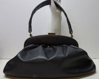 Black NAPA Large Leather Handbag Purse