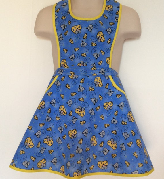 Handmade little girls mice and cheese full apron