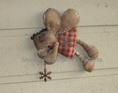 Primitive Flying Gingerbread Fairy Doll Ornament