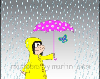 The Girl With Pink Umbrella And Yellow Raincoat with Butterfly In The Rain print or mug