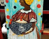 Original Art Folk Art Lady Folk Chickens Painting