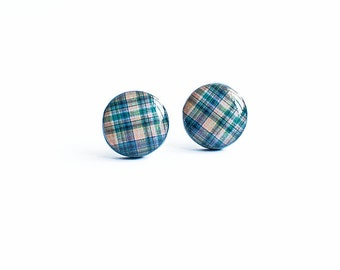 Plaid stud earrings tartan jewelry back to school earrings