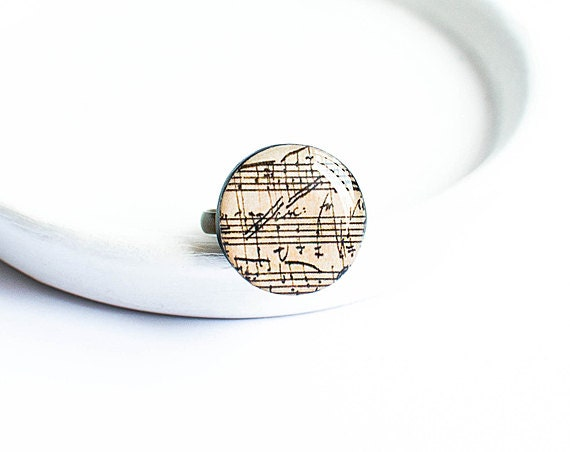 Sheet music ring, elegant jewelry, music notes ring, sheet music jewelry