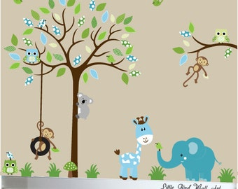 Children's wall decal jungle tree wall sticker animals owl tire swing decals
