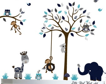 Baby Wall Decals, Navy, Grey, Kids Wall Art, Baby Boy, Children's Room Decals, Nursery Wall Decal