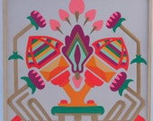 Original Art, Hand painted enamel, acrylic, gouache painting with neon and gold, Bollywood, Sacred Place