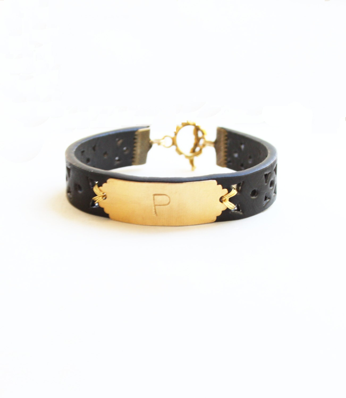 Personalized Bracelet, Monogram Leather Bracelet, Initial Bracelet, Black, Personalized Bracelet, Name Bracelet, Custom Name Bracelet