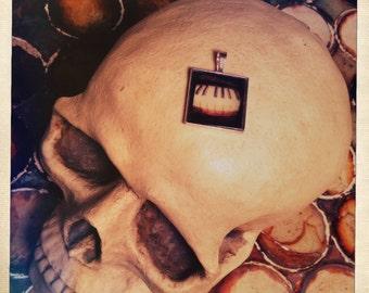Macabra Art Pendant. Mini Piano Keys Photo Print necklace, dark moody square Charm. Black Lodge Jewelry