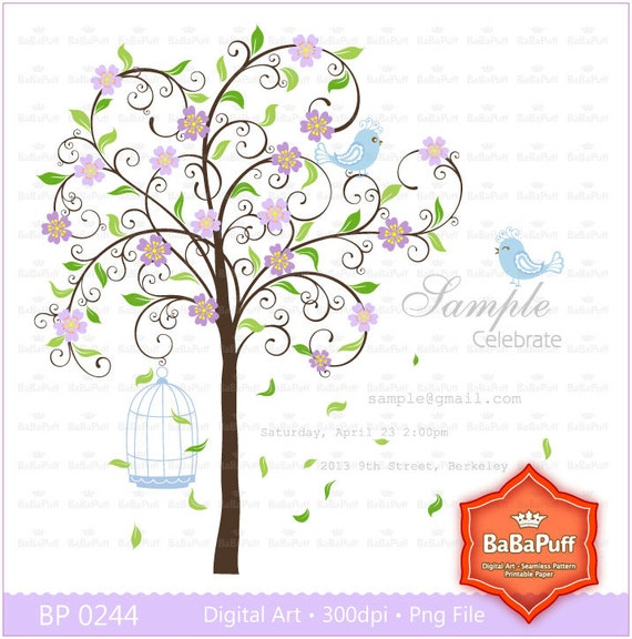 Instant Downloads, Lavender Blossom Tree & Cute Birds ClipArt. For Your Wedding Invitations Card. Personal and Small Commercial Use. BP 0244