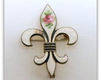 White Guilloche Enamel Watch Pin Pendant Holder Fleur de Lis Vintage 1930s