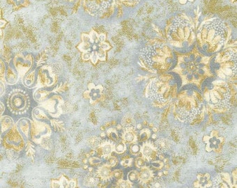 SALE - Patina - Medallion with Metallic Cotton Print fabric from Timeless Treasures