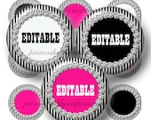 Editable Bottle Cap Images, Digital Collage Sheet, 1 Inch Circles, Black and White Stripe With Bling, Printable, Instant Download No.1