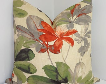 OUTDOOR Terracotta Green Floral Print Pillow Cushion Covers Coral Porch Decorative Pillows Three Sizes