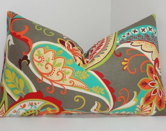 Whimsy Paisley Lumbar Pillow Cover Decorative Pillow Paisley Throw Pillow Multi Color Paisley 12x18 12x20 12x26