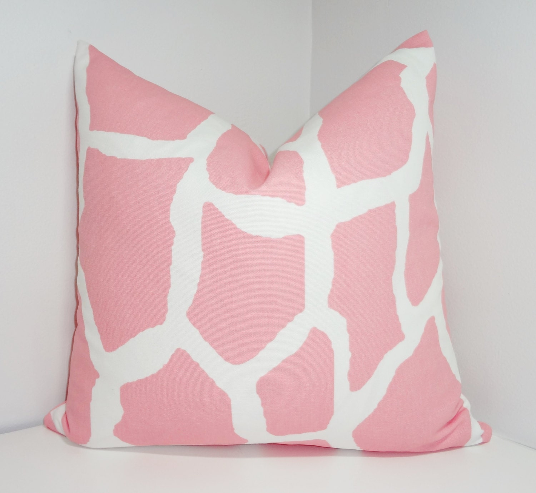 Decorative Throw Pillows Pink : Decorative Pillow Throw Pillow Pink & White Giraffe Nursery