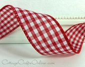 "Wired Ribbon 1 1/2"" Red White Check Gingham - THREE YARDS - Offray Christmas, Valentine, Summer, Picnic Check, Craft Decor Wire Edge Ribbon"