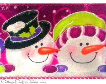 "Christmas Wired Ribbon, 2 1/2"" Snowmen, Snowomen Fuchsia Pink - TWENTY FIVE YARD Roll - ""Snowmen's Party"" Craft Wire Edged Ribbon"