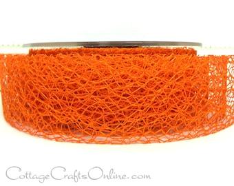 "Ribbon Halloween Orange Spider Web 1 1/2"" wide, THREE YARDS - May Arts Webbed Net Orange Craft Ribbon Trim"