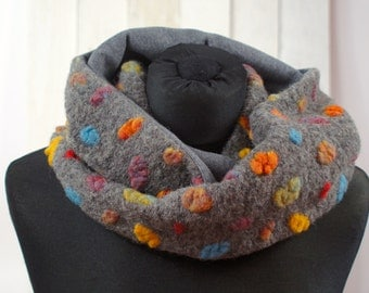 Loop Infinity Circle Scarf in grey with colored dots organic wool