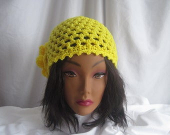 Hat Womans Lemon Yellow Crochet Hat with Button Flower Applique Stylish, Chic, Trendy and Lacy Cap Handmade Fashion Accessory