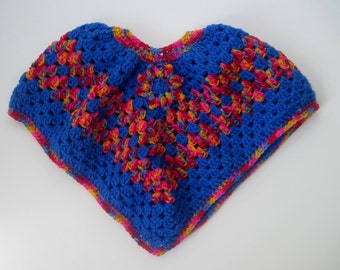 Baby Poncho Sweater - Crochet in Blue and Vibrant Pink, Red, Blue and Yellow with Flower Applique - 6 to 12 Months