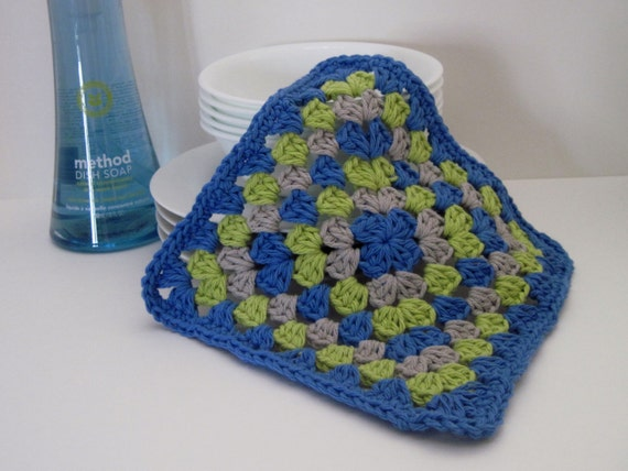 Crochet Granny Square Dishcloth Pattern : Crochet Dish Cloth Cotton Granny Square Blue by CrochetCluster