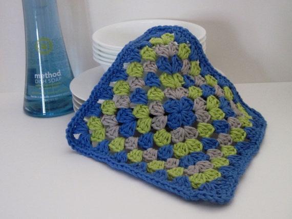 Crochet Dish Cloth Cotton Granny Square Blue by CrochetCluster