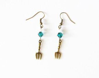 The Little Mermaid Inspired Dinglehopper Earrings Fork Pearl