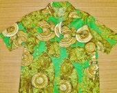 Mens Vintage 60s Shark Fin Collars Zip Up Barkcloth Hawaiian Shirt - S - The Hana Shirt Co