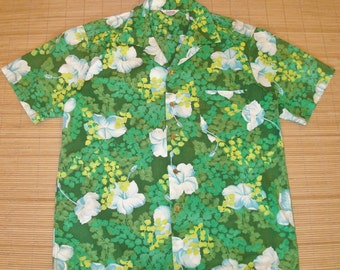 Mens Vintage 60s Kamehameha Beach Surf  Surfer Floral Hawaiian Shirt - L -  The Hana Shirt Co