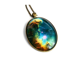 Pillars of Creation Glass Necklace Galaxy Nebula Space Science