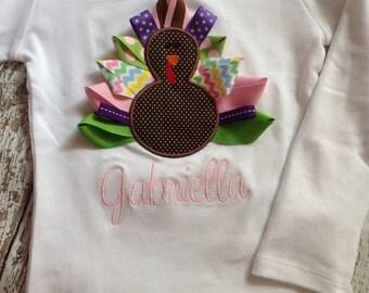 Girl Thanksgiving Shirt - Turkey - Infant or Toddler - Ribbon Turkey - Personalized - Monogrammed Shirt