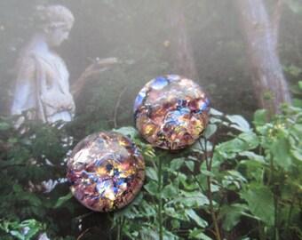 18mm Amethyst Opal Glass Cabs 2pcs.