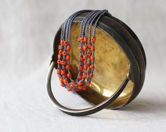 Multi strand orange gray necklace Crochet beaded jewelry Gift for her Handcrafted boho chic necklace with glass beads Spring Summer fashion