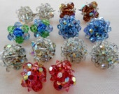 Multi Faceted Old Cut Crystal Clip Earrings 7 Pair Marked Germany  Coro