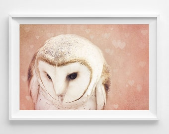 "Barn Owl Photograph Unframed / dreamy woodland creature love hearts / blush pink pastel girl nursery decor / photography print / ""Shy Love"""