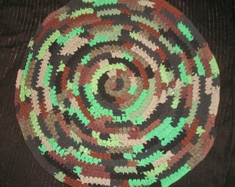Camouflage Round Rag Rug Camo in Woodsy Brown, Tan, Green, Gray, and Black