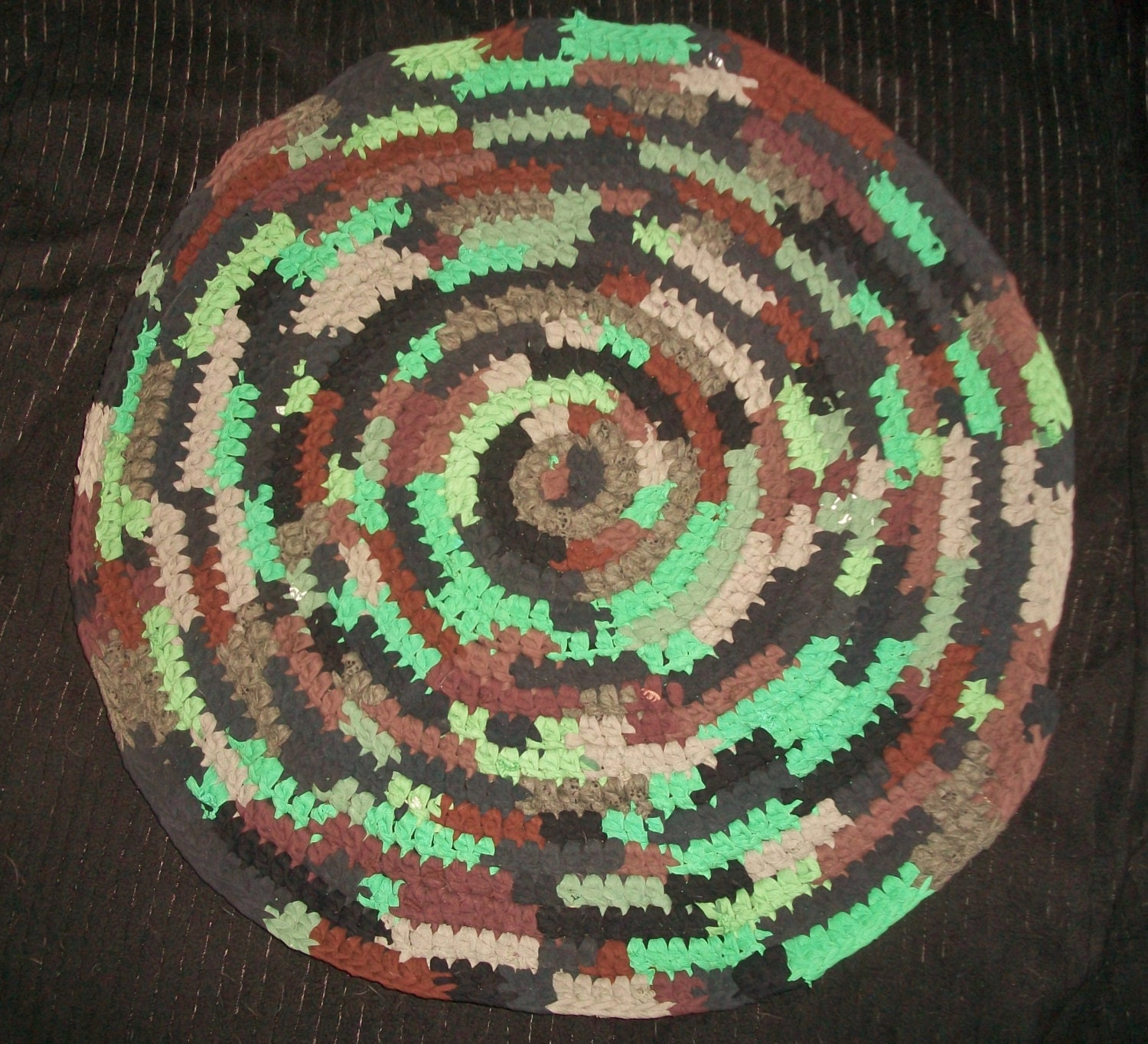 Camouflage Round Rag Rug Camo In Woodsy Brown Tan Green