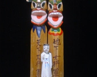 Unusual Traditional Wooden Characters Protective Statues from JAPAN or KOREA