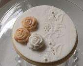 Cookie - Lace and Roses - Perfect as a Gift, Wedding, Rehearsal Dinner, Bridal Shower Favors. Custom Colors.