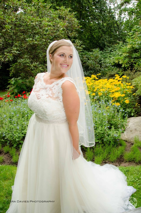 Plus size wedding dress silk lace and tulle wedding dress for Plus size silk wedding dresses