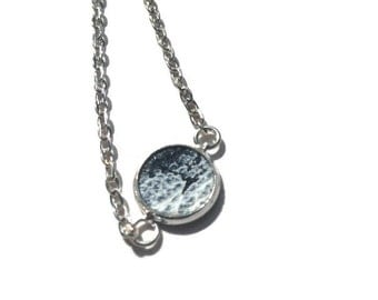 Black and white painted leather pendant necklace. 10mm wide hand painted pendant.