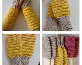 Fingerless Gloves Hand Knit Arm Hand Warmers, Mustard / Lace